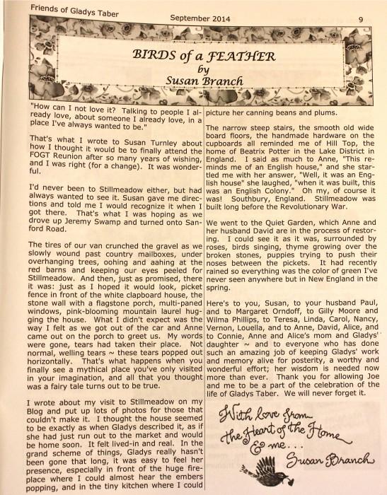 Gladys Taber Newsletter