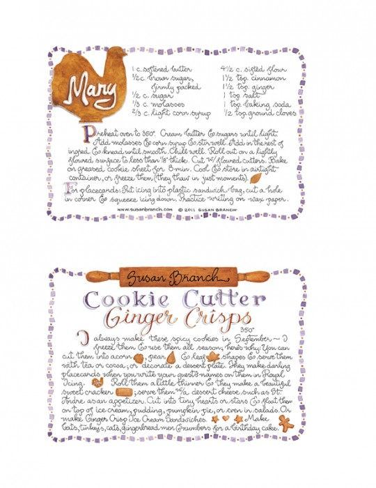 Ginger Crisp Recipe Card Susan Branch Blog