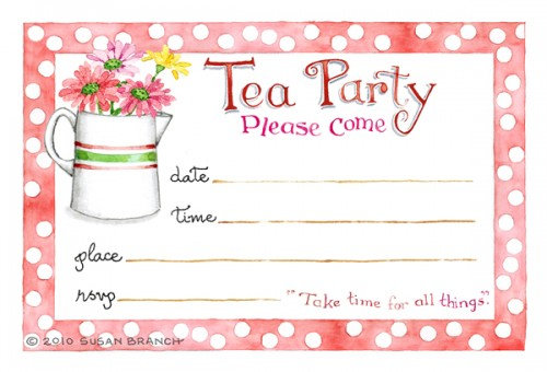 tea party invitation susan branch blog