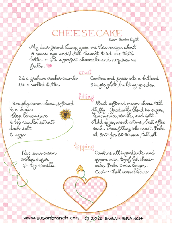 Cheesecake Susan Branch Blog