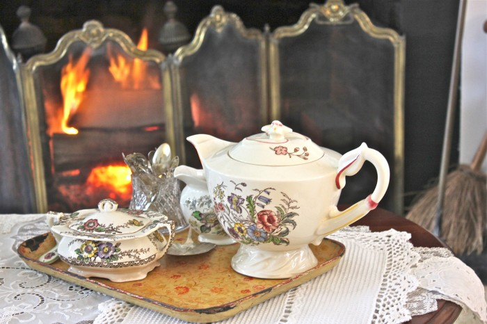 tea in front of the fire