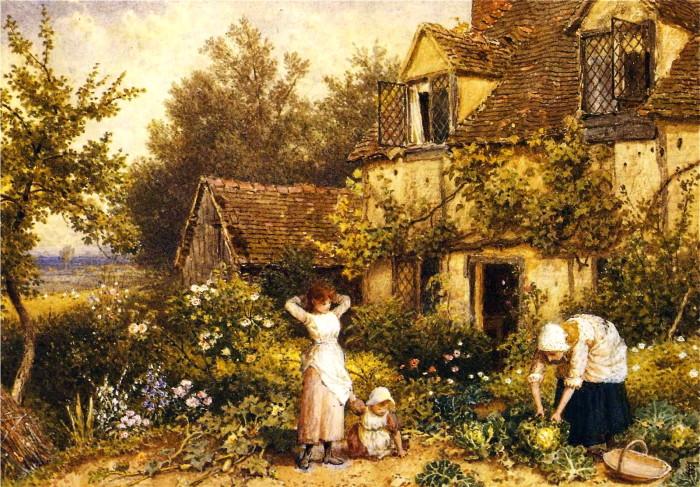 commonsmyles_birket_foster_-_at_the_cottage_door